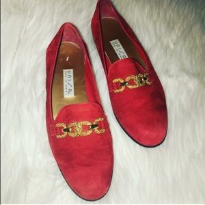 Vintage suede gold chained loafers